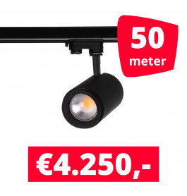LED Railverlichting Easy Focus 25W Zwart 50 spots + 50M rails
