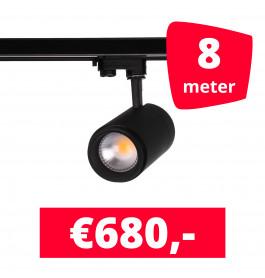 LED Railverlichting Easy Focus 25W Zwart 8 spots + 8M rails