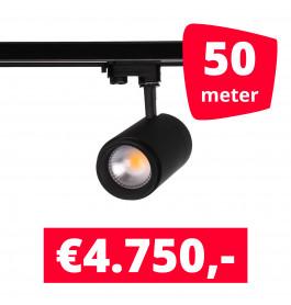 LED Railverlichting Easy Focus 30W Zwart 50 spots + 50M rails