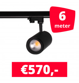LED Railverlichting Easy Focus 30W Zwart 6 spots + 6M rails