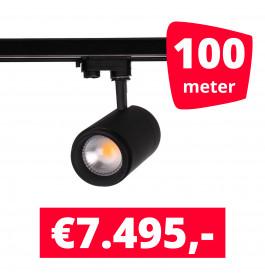 LED Railverlichting Easy Focus 15W Zwart 100 spots + 100M rails