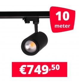 LED Railverlichting Easy Focus 15W Zwart 10 spots + 10M rails