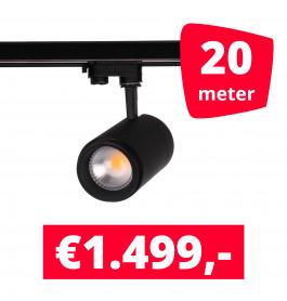 LED Railverlichting Easy Focus 15W Zwart 20 spots + 20M rails