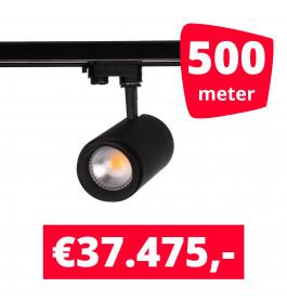 LED Railverlichting Easy Focus 15W Zwart 500 spots + 500M rails