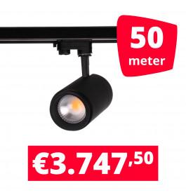 LED Railverlichting Easy Focus 15W Zwart 50 spots + 50M rails