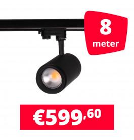 LED Railverlichting Easy Focus 15W Zwart 8 spots + 8M rails