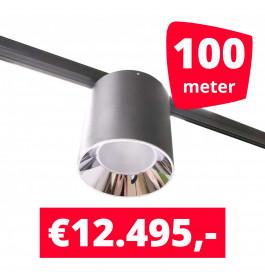 LED Railverlichting Easy Focus LED Can Zwart 100 lampen + 100M rails