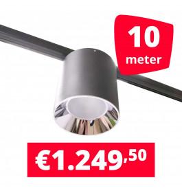 LED Railverlichting Easy Focus LED Can Zwart 10 lampen + 10M rails