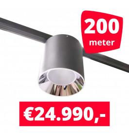 LED Railverlichting Easy Focus LED Can Zwart 200 lampen + 200M rails