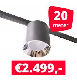 LED Railverlichting Easy Focus LED Can Zwart 20 lampen + 20M rails