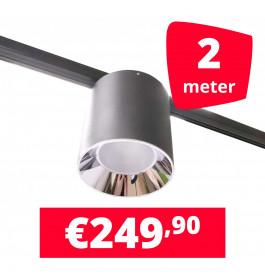 LED Railverlichting Easy Focus LED Can Zwart 2 lampen + 2M rails