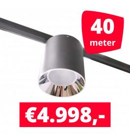 LED Railverlichting Easy Focus LED Can Zwart 40 lampen + 40M rails