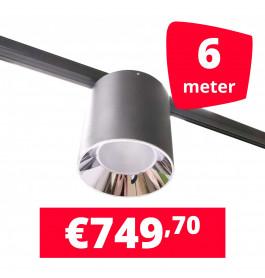 LED Railverlichting Easy Focus LED Can Zwart 6 lampen + 6M rails