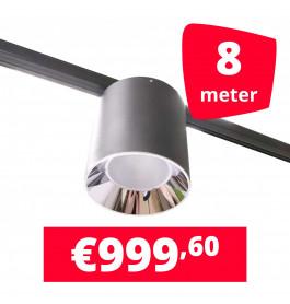 LED Railverlichting Easy Focus LED Can Zwart 8 lampen + 8M rails