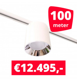 LED Railverlichting Easy Focus LED Can Wit 100 lampen + 100M rails