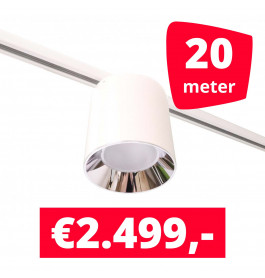 LED Railverlichting Easy Focus LED Can Wit 20 lampen + 20M rails