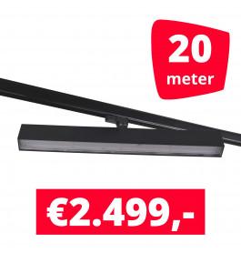 LED Railverlichting Easy Focus Wall 60 cm Zwart 20 spots + 20M rails