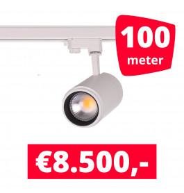 LED Railverlichting Easy Focus 25W Wit 100 spots + 100M rails