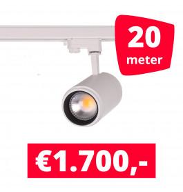 LED Railverlichting Easy Focus 25W Wit 20 spots + 20M rails