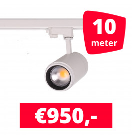 LED Railverlichting Easy Focus 30W Wit 10 spots + 10M rails