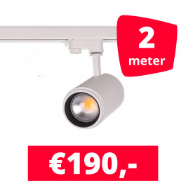 LED Railverlichting Easy Focus 30W Wit 2 spots + 2M rails