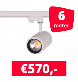 LED Railverlichting Easy Focus 30W Wit 6 spots + 6M rails