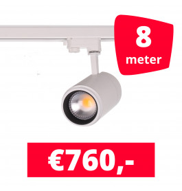 LED Railverlichting Easy Focus 30W Wit 8 spots + 8M rails