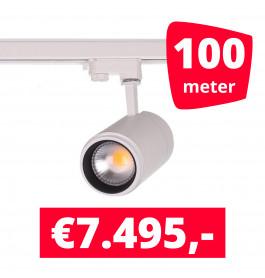 LED Railverlichting Easy Focus 15W Wit 100 spots + 100M rails