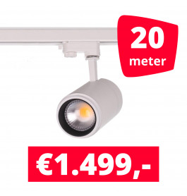 LED Railverlichting Easy Focus 15W Wit 20 spots + 20M rails