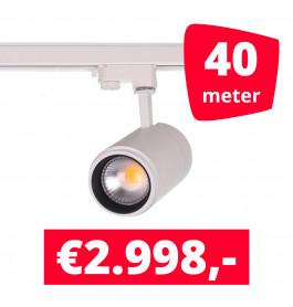 LED Railverlichting Easy Focus 15W Wit 40 spots + 40M rails