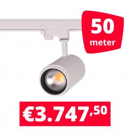 LED Railverlichting Easy Focus 15W Wit 50 spots + 50M rails