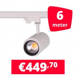 LED Railverlichting Easy Focus 15W Wit 6 spots + 6M rails