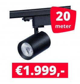 LED RAILVERLICHTING EOS zwart 20 SPOTS + 20M RAILS