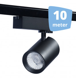 LED RAILVERLICHTING EOS zwart 10 SPOTS + 10M RAILS
