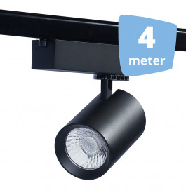 LED RAILVERLICHTING EOS zwart 4 SPOTS + 4M RAILS