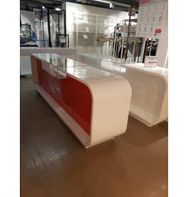 SHOWROOMMODEL Super high glossy toonbank wit / rood 310 cm