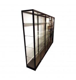 Vitrinekast zwart 300 cm breed
