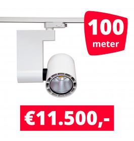 LED Railverlichting Ledimo 10 35W Wit 100 spots + 100M rails