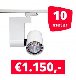 LED Railverlichting Ledimo 10 35W Wit 10 spots + 10M rails