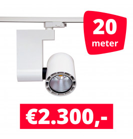 LED Railverlichting Ledimo 10 35W Wit 20 spots + 20M rails