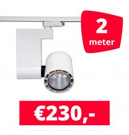 LED Railverlichting Ledimo 10 35W Wit 2 spots + 2M rails