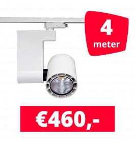 LED Railverlichting Ledimo 10 35W Wit 4 spots + 4M rails