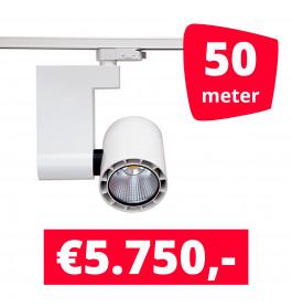 LED Railverlichting Ledimo 10 35W Wit 50 spots + 50M rails