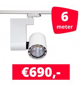 LED Railverlichting Ledimo 10 35W Wit 6 spots + 6M rails
