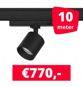 LED Railverlichting Gruppo Corso Mini DTW 10W Zwart 10 spots + 10M rails