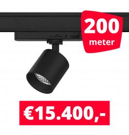 LED Railverlichting Gruppo Corso Mini DTW 10W Zwart 200 spots + 200M rails