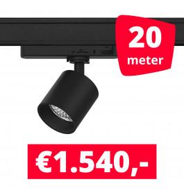 LED Railverlichting Gruppo Corso Mini DTW 10W Zwart 20 spots + 20M rails