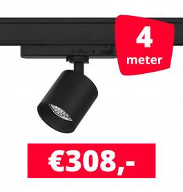 LED Railverlichting Gruppo Corso Mini DTW 10W Zwart 4 spots + 4M rails