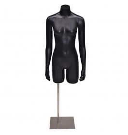 Gruppo corso torso 3/4 model dame met armen in mat zwart op poot GCBFB3/4