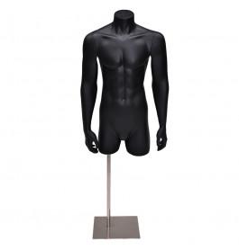 Gruppo corso torso 3/4 model heer met armen in mat zwart op poot GCBFB3/4
